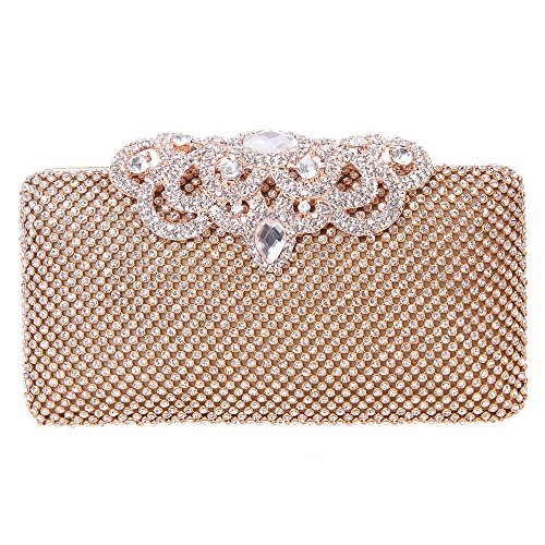 Fawziya Crown Clutch Purse Bling Hard Box Rhinestone Crystal Clutch Bag-Gold (Silk Evening Shoes)
