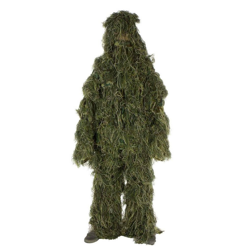 Ginkago Ghillie Suit M/L Camo Woodland Camouflage Forest Hunting 4-Piece + Bag (M/L) by Ginkago