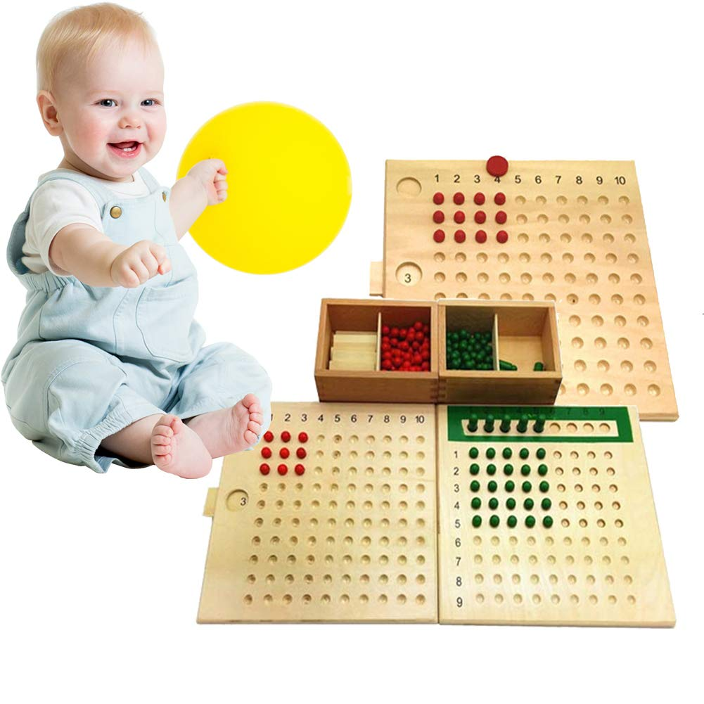 bromrefulgenc Intelligence Toy for Toddler,Montessori Multiplication Division Mathematics Wooden Board Kids Educational Toy