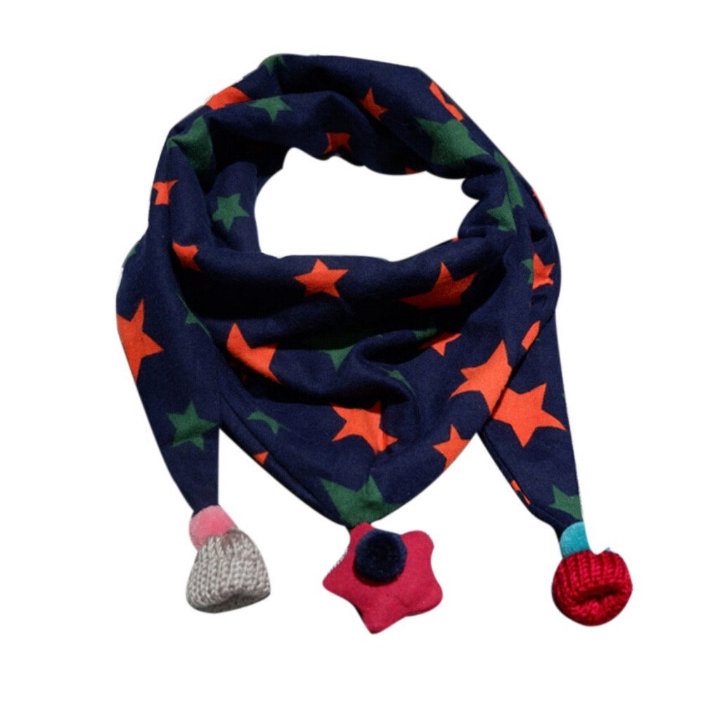 Écharpe de bébé, Foulard imprimé à la Mode BZLine pour Les Filles de garçon Echarpes Hiver pour 2-10 Ans (Marine) BZL-01