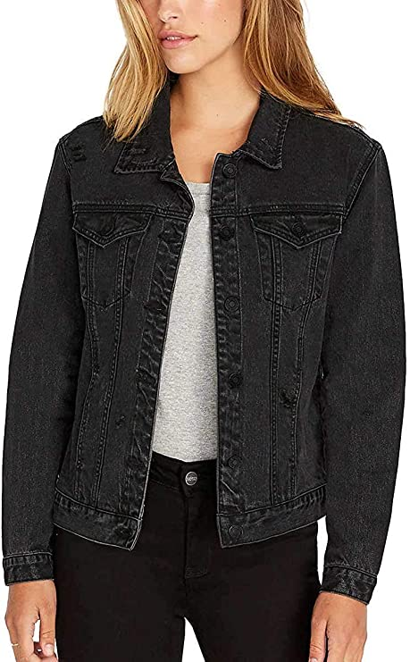 Women's Black Jean Jacket | Classic denim jacket for fall | Perfect staple for any casual outfit | Casual jean jacket
