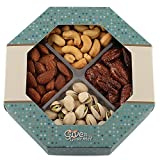 GIVE IT GOURMET, Medium, Gift Baskets, Holiday Nuts Gift Basket Delightful Gourmet Food Gifts Prime Delivery Birthday Christmas Mothers & Fathers Day Fruit Nuts Gift Box Assortment Men Women Families For Sale