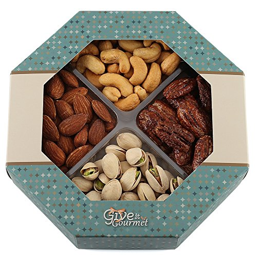 GIVE IT GOURMET, Freshly Roasted Delicious Healthy Nuts Holiday Gift Basket (Medium Gift Tray) (Birthday Gift Baskets Dad)