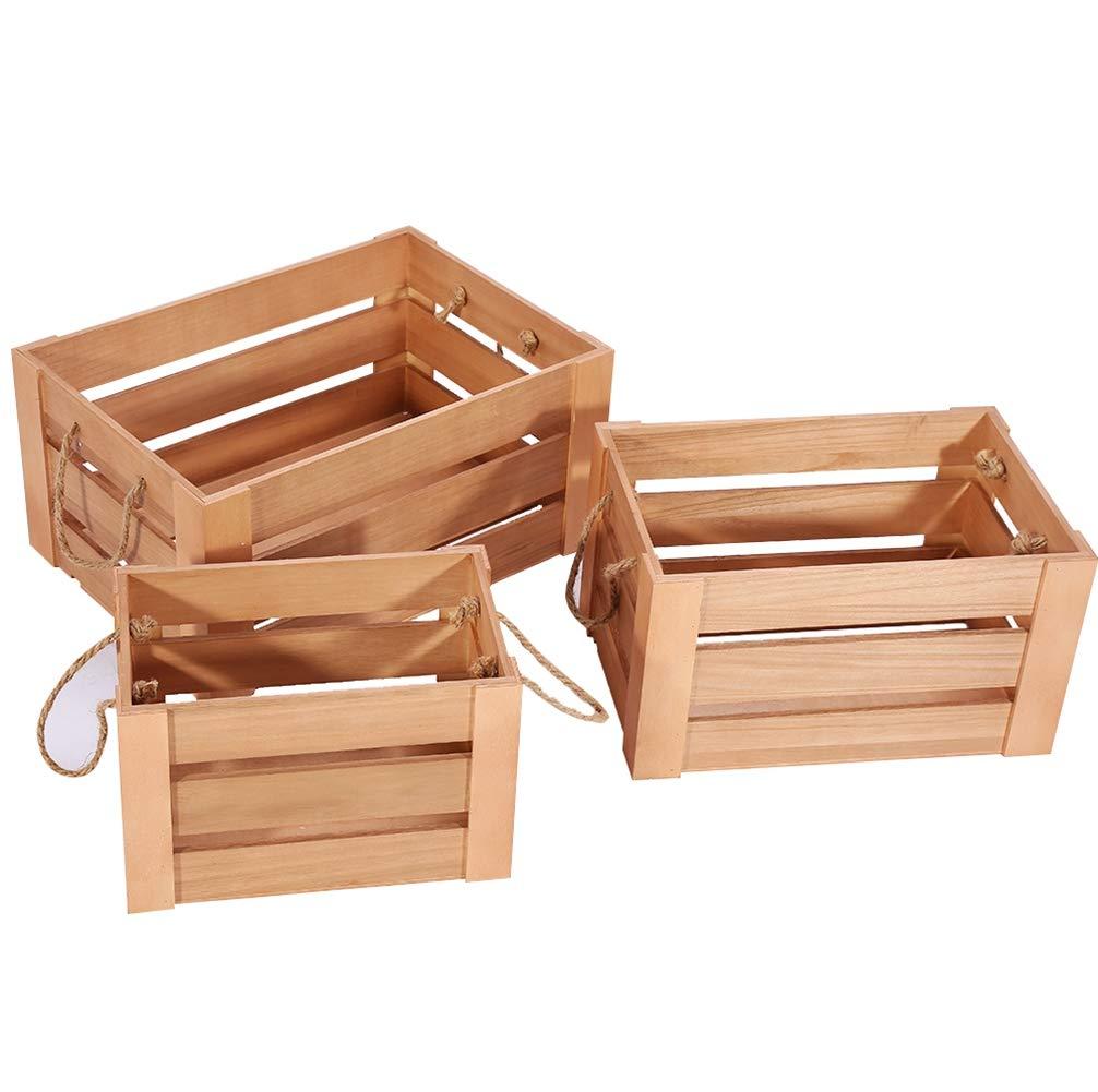 Amazoncom Idalinya Vintage Wood Storage Crate Display Box 3pcs