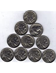 Count of Ten Circulated Buffalo Nickels 1913 to 1938 Fine