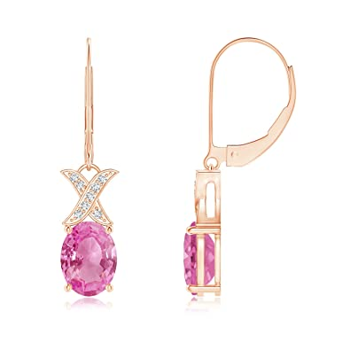 Angara Amethyst and Diamond XO Leverback Drop Earrings in Rose Gold e9GmwaY