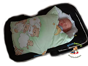 BlueberryShop Luxury Classic Car Seat Swaddle Wrap Blanket For Newborn Baby Green Bear On