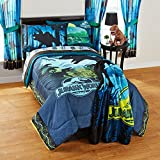 5 Piece Jurassic World Themed Comforter Set Full, Blue Black Yellow Grey Magical Movie Cartoon Character Adventurous Teen Themed Reversible Kids Bedding For Bedroom Casual, Microfiber