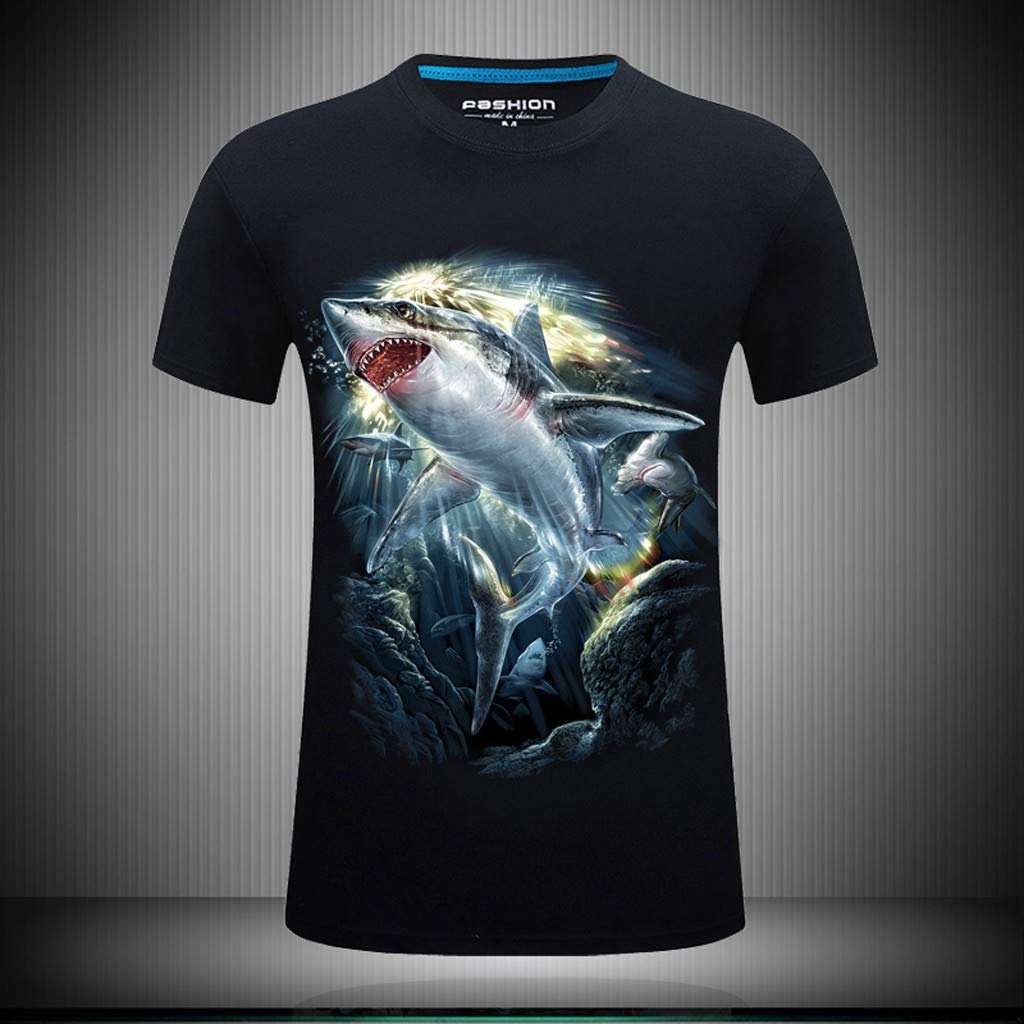 MmNote Deep Sea Shark Print Cool Quick Quick-Dry Modern Fit Loose Breathable Soft Lightweight Short Sleeve Shirts for Men