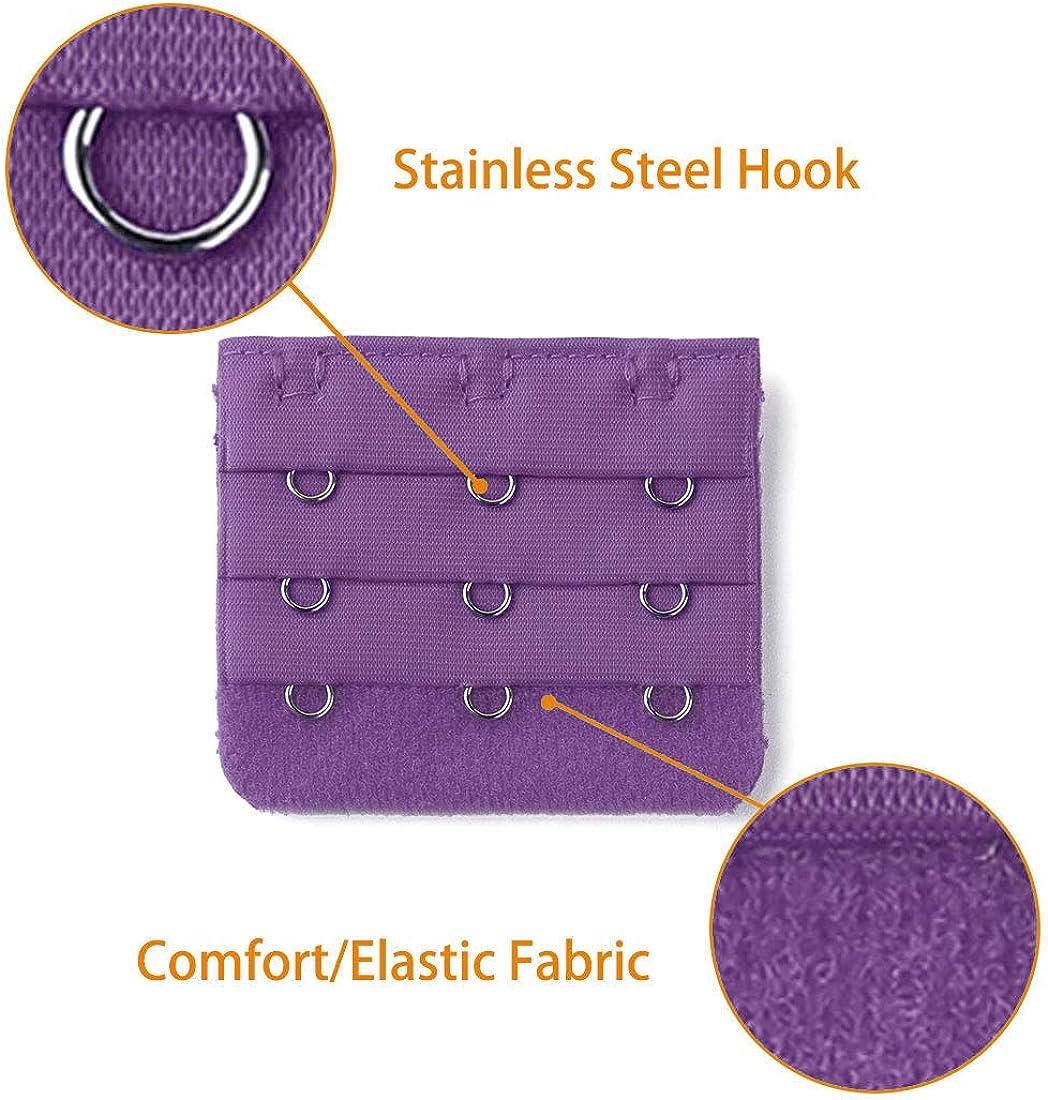 uxcell 3 Pcs 3 Positions Hooks Women Underwear Bra Adjustable Strap Extender Buckle Hook Purple One Size