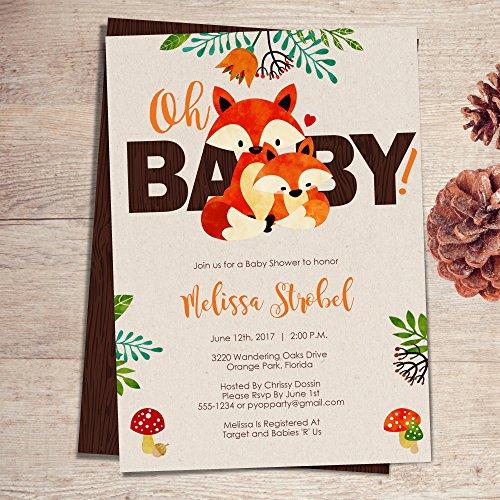Fox Baby Shower Invitations | Fox Themed Woodland baby Invite PRINTABLE