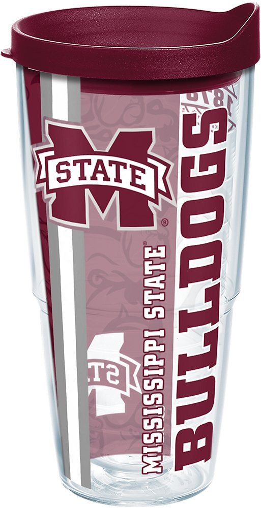 Tervis 1219927 Mississippi State Bulldogs College Pride Tumbler with Wrap and Maroon Lid 24oz Clear