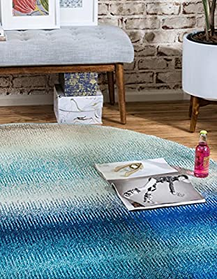 Unique Loom Estrella Collection Vibrant Abstract Blue Round Rug (8 x 8)