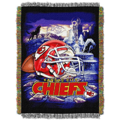 The Northwest Company Officially Licensed NFL Kansas City Chiefs Home Field Advantage Woven Tapestry Throw Blanket, 48