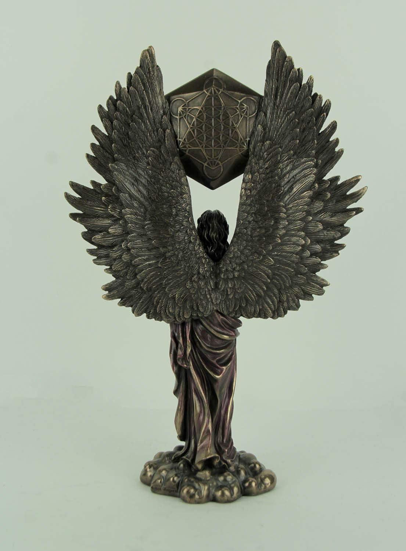 Archangel Metatron Holding Up Sacred Geometry Cube Statue