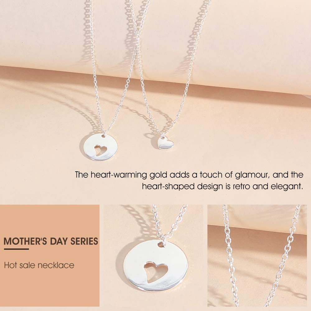 Loweryeah Lady's Hollow Heart Pendant Double Layer Necklace Mother's Day gift by Loweryeah (Image #4)