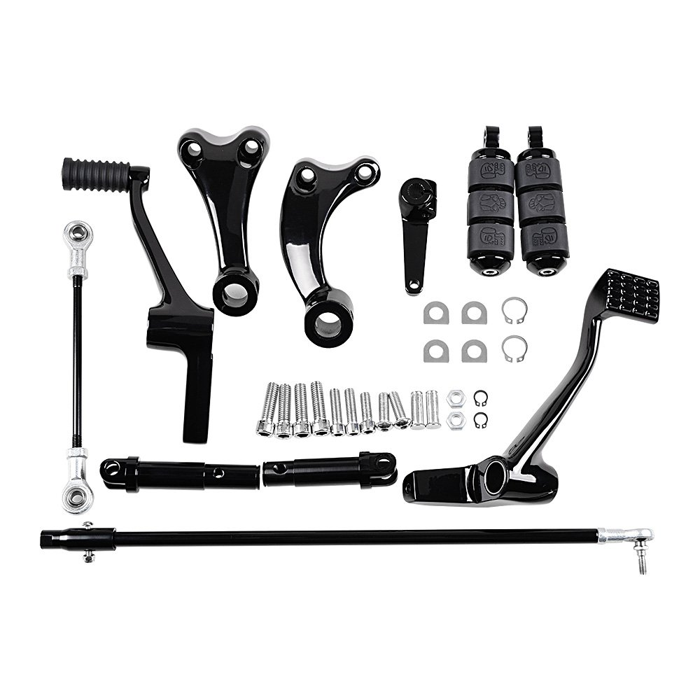 BLACK Forward Controls Kit Harley Sportster XL883 XL1200 Selected Model Peg + Lever + Linkages + Mounting Hardware (2014-2018) by AMOPA