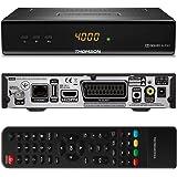 Thomson THS222 Digitaler Satelliten-Receiver mit Display für Senderanzeige - DVBS2, HDTV [HD, HDMI, SCART, DVB-S2, USB, RSS Feeds, Digitaler Koaxialausgang] Schwarz