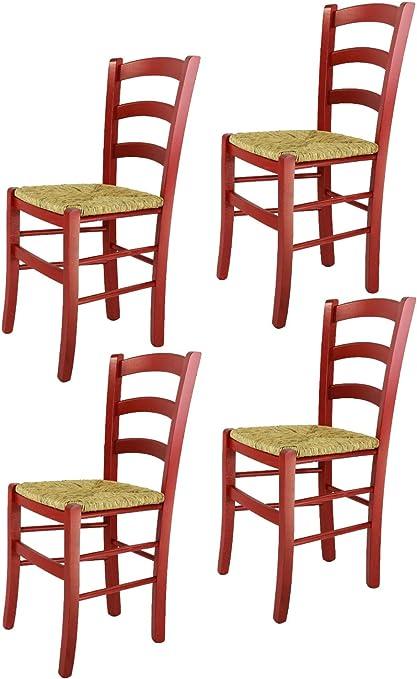 Tommychairs Set 4 sedie modello Venezia per cucina bar e sala da pranzo, robusta struttura in legno di faggio verniciata in anilina rossa e seduta