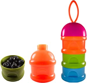 Baby Food Storage BPA Free Containers with Tower Top Tier Stacking Infant Formula Dispenser - Keeps Snacks Fresh (Red)