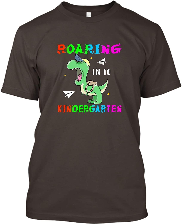 Gift for Kids and Parents Premium Custom Ultra Cotton T-Shirt Roaring into Kindergarten T-Rex