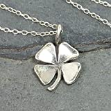 Irish Shamrock Four Leaf Clover Necklace - 925 Sterling Silver