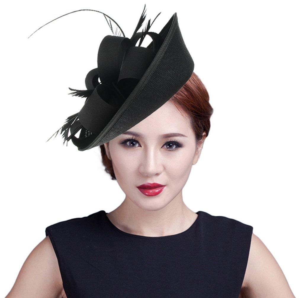 GEMVIE Women Wedding Party Bow Feather Fascinator Hair Clip Hat Black by GEMVIE