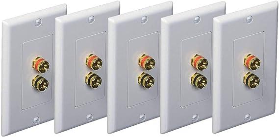 iMBAPrice (5 Pack) Premium 2 Connector Banana Wall Plate - Banana Plug Binding Post Wall Plate for Speakers