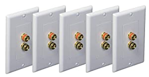 iMBAPrice (Pack of 5) Premium 2 Connector Banana Wall Plate - Banana Plug Binding Post Wall Plate for 1 Speakers