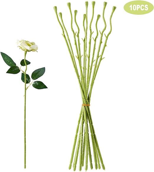 Florist Flower Plastic Wire Stems 2mm Dark Green x 10 pcs