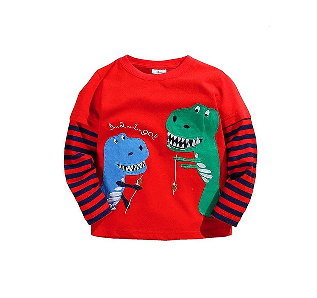 Coralup Little Boys Girls Top Applique Dinosaur T-Shirt (Red,18M-6 Years)