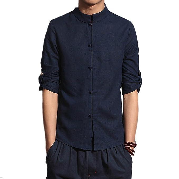 Camisas para Hombres Algodón Material Camisas De Moda De Siete Mangas Camisa Cómoda Y Casual,