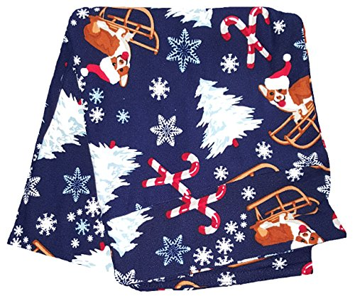 Faded Glory Christmas Dog Sled Candy Canes & Trees Blue Super Soft Legging - Small