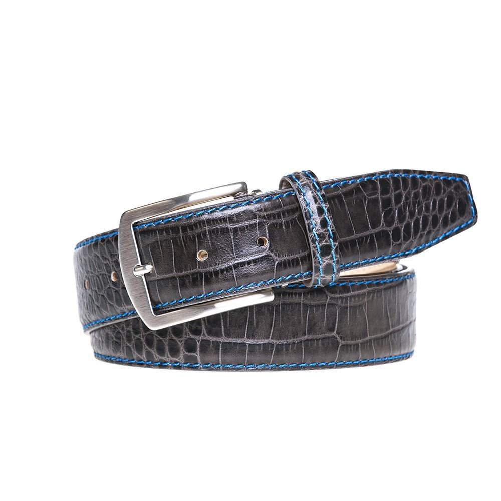 Slate Italian Mock Croc Leather Belt