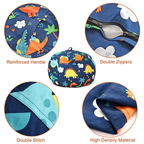 BROLEX 27'' Stuffed Animals Bean Bag Chair Cover-100% Cotton Canvas Kids Toy Storage Zipper Bags Comfy Pouf for Unisex Boys Girls Toddlar, Dinosaur Print by BROLEX (Image #7)
