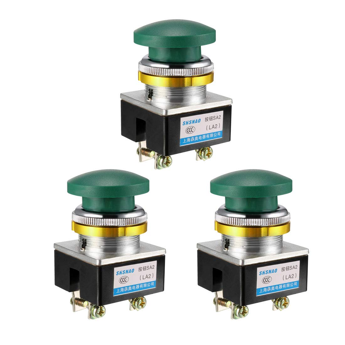 Pack of 3 uxcell Push Button Switch Green Momentary AC 380V 5A Mushroom Head Pushbutton Switches 30mm Panel Mount