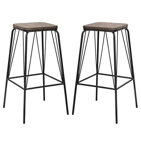 Remarkable Viva Home Metal Chair Counter Dining Barstool With Elm Seat Pan Set Of 2 Black Bralicious Painted Fabric Chair Ideas Braliciousco