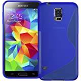 Blue S Curve XYLO-GEL Skin / Case / Cover for the Samsung Galaxy S5 / S 5 Mobile Phone. Includes ClearICE Screen Protector Guard.
