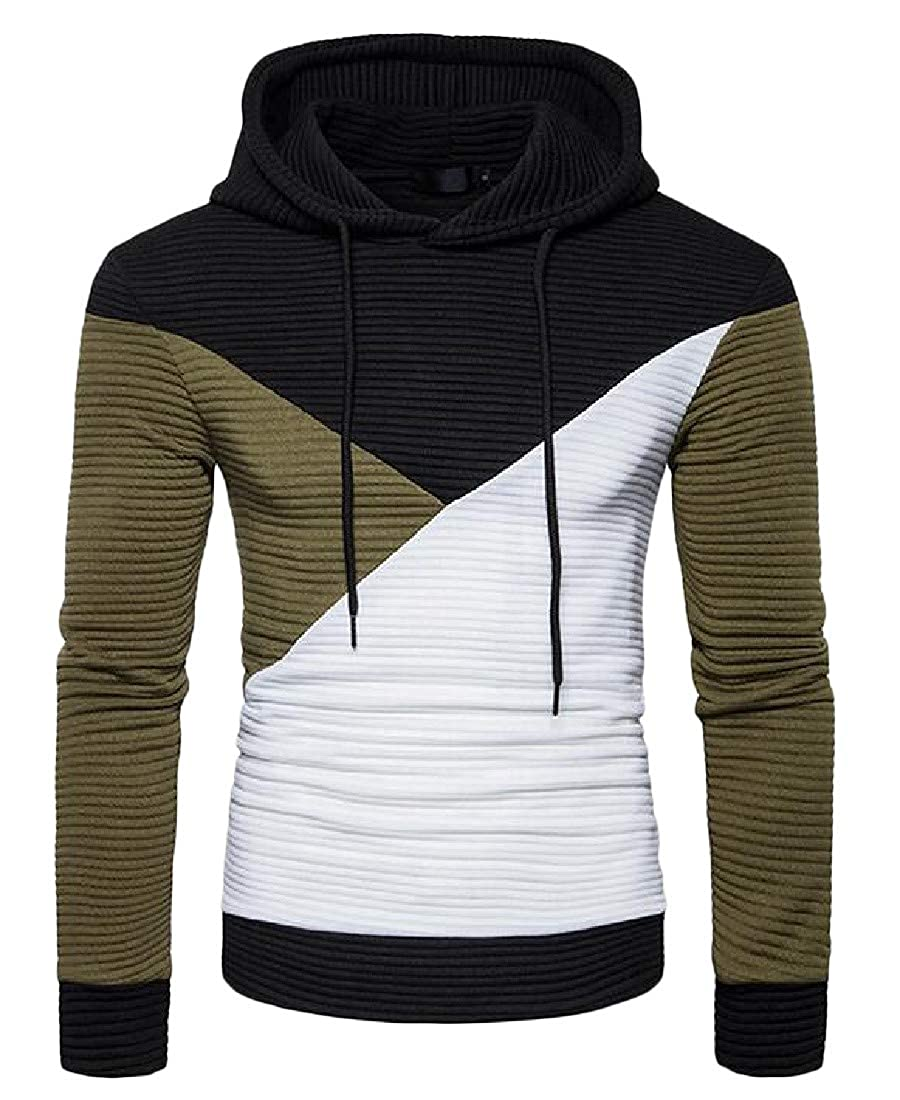 Etecredpow Men Vogue Contrast Colors Pullover Hooded Sweatshirts Jacket