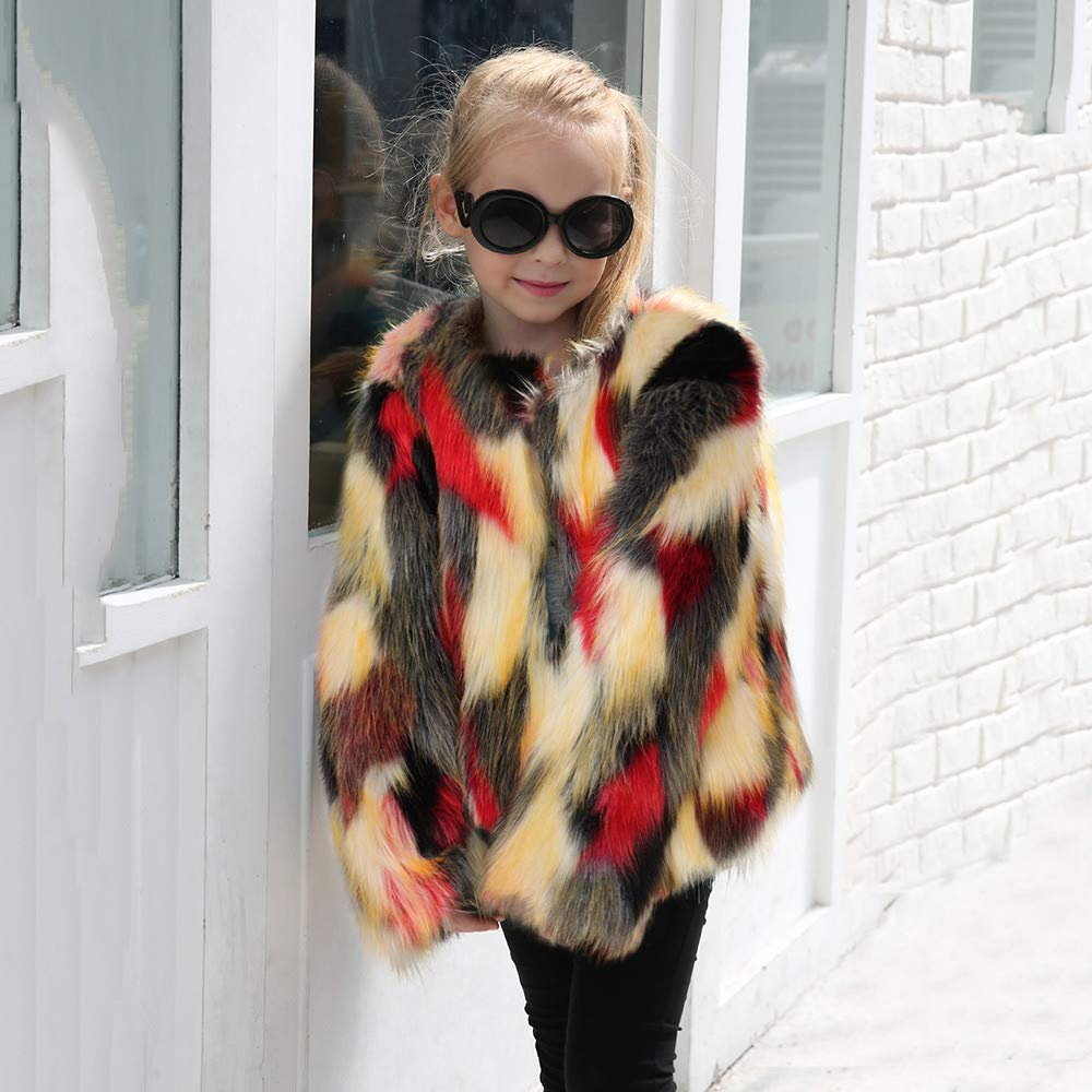 TOOPOOT Winter Girl Coat,Toddler Kids Baby Girl Warm Clothes Faux Fur Thick Solid Coat Outwear for 1-6 Years