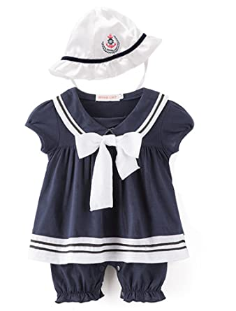 d69113f45 ARAUS Romper Suit Baby Girls Nautical Sailor Bodysuit with Hat Summer  Clothing Set Outfits 2 Pack