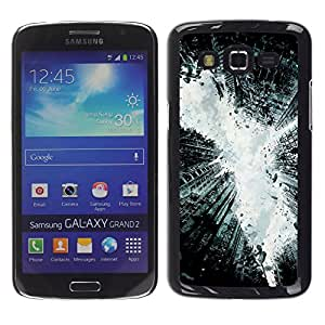 MOBMART Carcasa Funda Case Cover Armor Shell PARA Samsung Galaxy Grand 2 - Steel Broken Monochrome Buildings