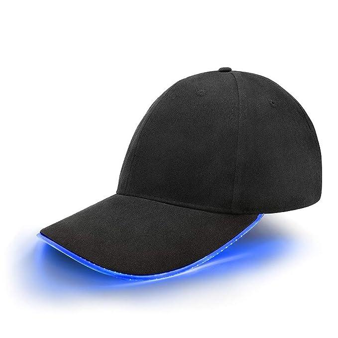 Gorra de beisbol con ribete de luces led neón azul