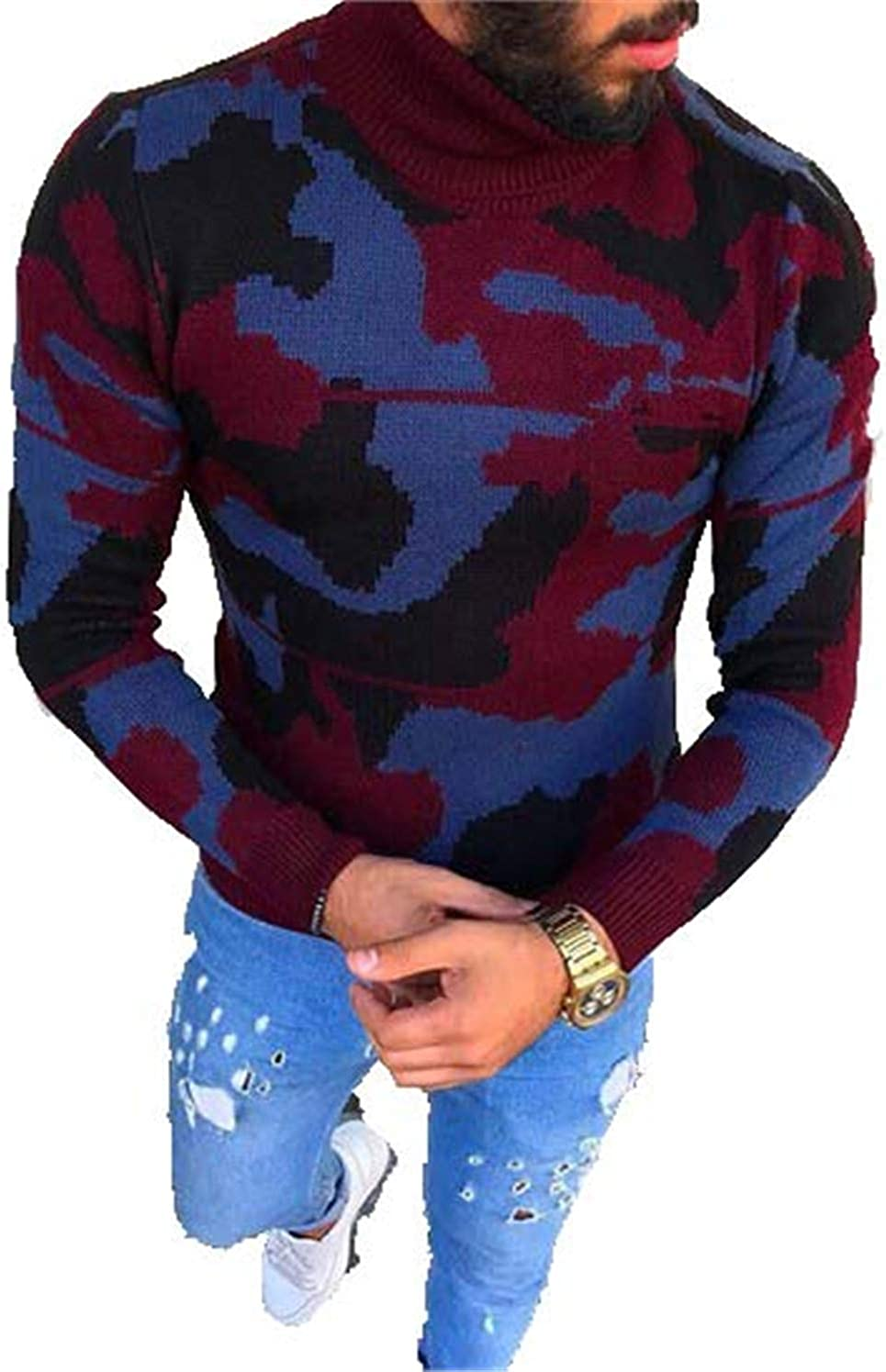 Wilngo Men Slim Fit Colorblock Patchwork Pullover Knit Casual Turtleneck Sweater