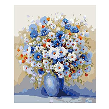 Amazon Com Lukalook Flower Diy Digital Oil Painting Paint By Number