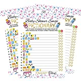 50 Emoji Pictionary Baby Shower Prediction Games For Men, Women - Kids, Girls, Boys, and Couples | Funny Party Bundle Set, Favors | Pink, Gold and Blue | Neutral, Unisex Adult Guessing Cards