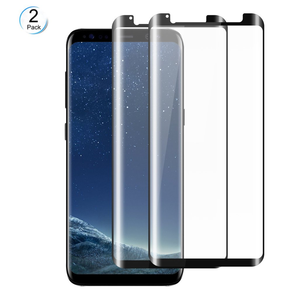 WengTech Galaxy S8 Screen Protector, 3D Curved 9H Hardness Anti-Scratch Full Coverage Fully Adhesive Tempered Glass Screen Protector Film for Samsung Galaxy S8 (2 Pack)