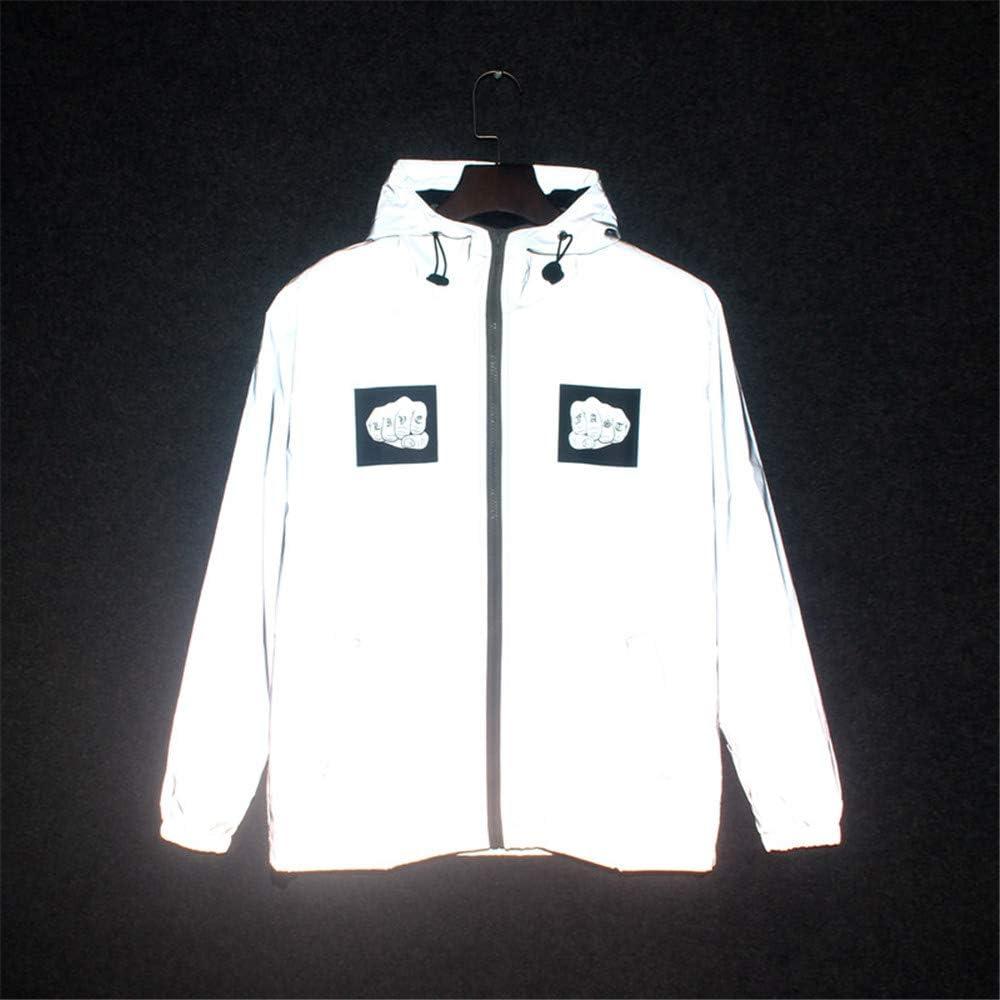 Chaqueta de abrigo reflectante Chaqueta reflectante de ciclismo para hombres y mujeres de alta visibilidad para caminar Caminar unisex de manga larga con capucha Casual Hiphop Windbreaker Night Sporti