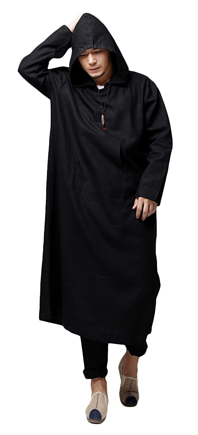 Black SportsX Mens Hood Leisure Solid-colord Robes Robes Robes Muslim Button Down Shirt e38421