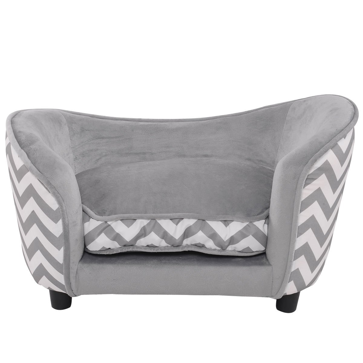 Giantex Pet Sofa Ultra Plush Lounge Sofa Bed Comfortable Puppy Cat Dog Sleeping Sofa Snuggle Couch Pet Bed with Cushion, Gray